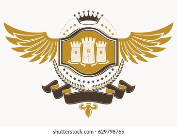 Heraldic sign made using vector vintage elements, eagle wings, medieval tower and monarch crown