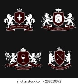 Heraldic signs, elements, insignia on black background. Vector set. Heraldic elements. Heraldic set. Heraldic signs illustration. Heraldic image.