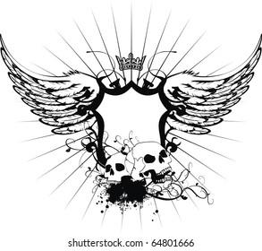 heraldic skull coat of arms in vector format very easy to edit