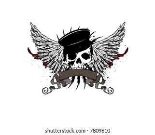 heraldic skull vector emblem
