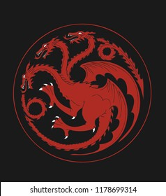 Heraldic symbol of house Targaren from game of thrones - High quality redrawn stock vector