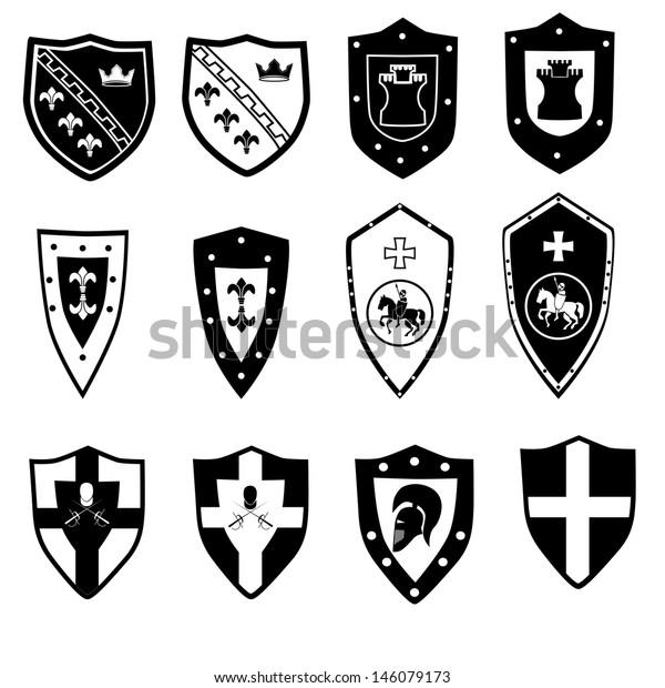 Heraldic Symbols Elements Emblem Badge Symbol Stock Vector