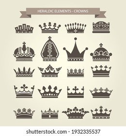 Heraldic symbols, royal crowns icon set, crown for coat of arms and blazons, vector
