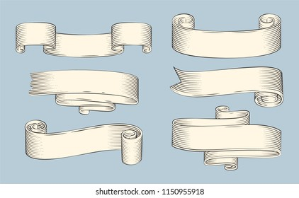 Heraldic symbols rubbed paper ribbons for gentilitial motto. Vector old style scrolls for special day event, invitation or letter decoration isolated.