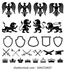 Heraldic symbols vector set. Heraldic elements lions, eagles, shield, weapon, crown. Black and white color heraldry isolated on white. Crossed swords and guns as medieval symbols of nobility