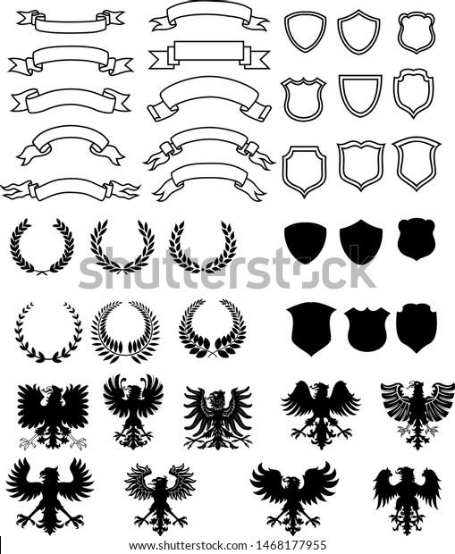 Heraldic Symbols Vector Set Heraldic Elements Stock Vector