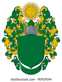 The heraldic template with a sun in crest. Heraldic template of the modern Russian personal arms.