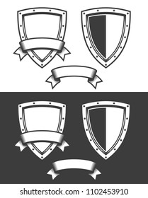 Heraldic triangular shield and ribbon -  template for the emblem, the sign.