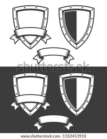 Heraldic Triangular Shield And Ribbon