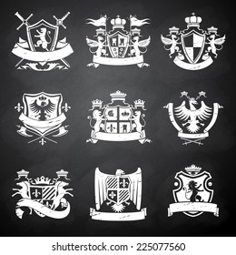 Heraldic victorian knight decorative emblems chalkboard set with flags lions and horses isolated vector illustration