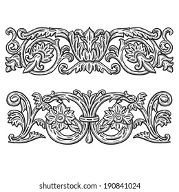 Heraldic vintage decorative element. Isolated object on white background. Retro engraving frame. Architectural drawing. calligraphic design elements: page decoration. antique and baroque frames