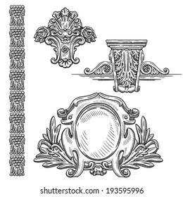 Heraldic vintage decorative element. Isolated object on white background. Retro engraving frame. Hand drawing vintage element. Architectural drawing. Vector fairy tale page.