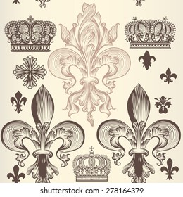 Heraldic wallpaper pattern with fleur de lis and crowns