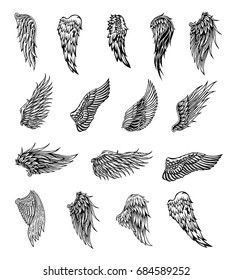Heraldic wings set for tattoo or mascot design, vector graphic illustration