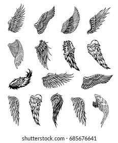Heraldic wings set for tattoo or mascot design, vector graphic illustration