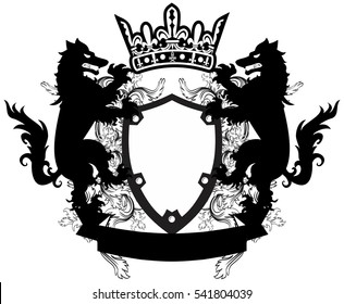 heraldic wolf coat of arms crest tattoo in vector format very easy to edit