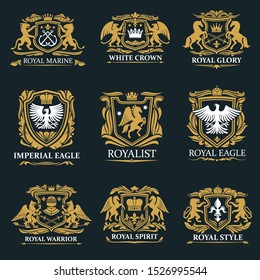 Heraldry golden royal signs and coat of arms. Vector marine symbol with crossed anchors, crown and glory, imperial eagle and royalist. Warriors spirit, gryphon and griffin, pegasus and falcon