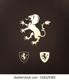 Heraldry. Heraldic golden lion symbol. Lion silhouette.