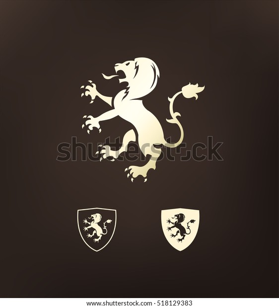 Heraldry Heraldic Golden Lion Symbol Lion Animals Wildlife