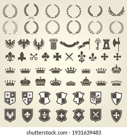 Heraldry kit of knight blazons and coat of arms elements, medieval heraldic emblems, vector