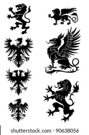 Heraldry ornament set, with griffin,eagle and lion,black colored.