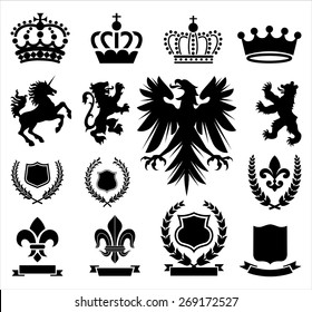 Heraldry Ornaments - Set of various heraldry ornaments, including crowns, animals, coat of arms, and banners.