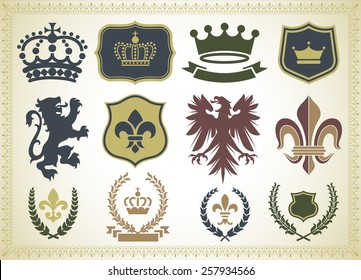 Heraldry Ornaments - Vector Heraldry Ornaments Isolated on a gradient Background.