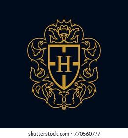 heraldry vector letter H