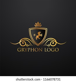Heraldry vector logo. Gryphon Royal logo for VIP hotel, restaurant or any business.