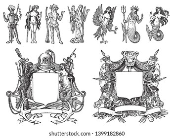 Heraldry in vintage style. Engraved coat of arms with animals, birds, mythical creatures, fish, dragon, unicorn, lion. Medieval Emblems and the logo of the fantasy kingdom