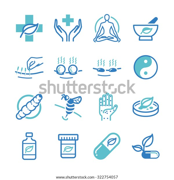 Herb and Alternative Medicine icon set. Included the icons as alternative medicine, treatment, remedy, cure, pharmaceutical, drug and more.