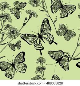 Herb meadow, seamless pattern, vector