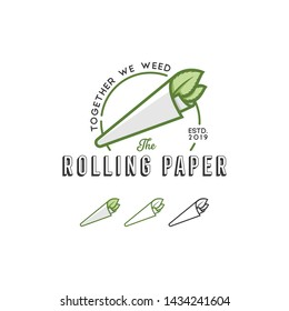 Herb Rolling Paper Logo Template. Best for Cannabis or Marijuana recreational Logo