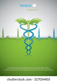 Herbal caduceus.Vector