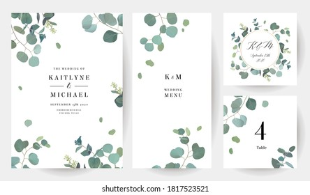 Herbal eucalyptus selection vector frames. Hand painted branches, leaves on white background. Greenery wedding simple minimalist  invitations. Watercolor style cards.Elements are isolated and editable
