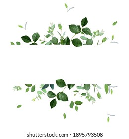 Herbal horizontal vector frame. Hand painted plants, branches, leaves on a white background. Greenery wedding simple invitation template. Watercolor style card. All elements are isolated and editable