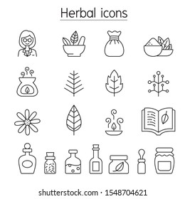 Herbal icons set in thin line style