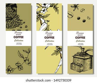 Herbal illustration on label packaging design. Hand drawn vector banner. Coffee beans, leaves, branch, flowers, birds