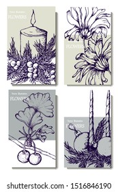 Herbal illustration on label packaging design. Hand drawn vector botanic set with candles and flowers, invitation