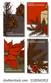 Herbal illustration on label packaging design. Hand drawn vector botanic set with flowers and candles, invitation