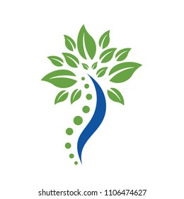 Herbal Medical Chiropractic and spine logo vector