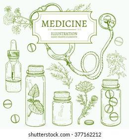 Herbal medicine hand drawn elements vector illustration
