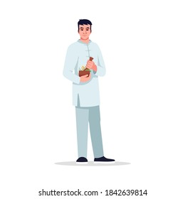 Herbal medicine specialist semi flat RGB color vector illustration. Integrative medicine doctor. Young chinese man working as alternative medicine doctor isolated cartoon character on white background