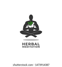 Herbal Meditation Logo Vector Icon Ilustration, Humans Embrace Herbal Medicine in a Meditative Position