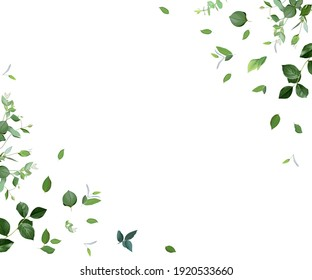 Herbal minimalist vector frame. Hand painted plants, branches, leaves on a white background. Greenery wedding simple invitation template. Watercolor style card. All elements are isolated and editable