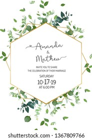 Herbal minimalist vertical vector frame. Hand painted plants, branches, leaves on white background. Greenery wedding invitation. Watercolor style. Gold line art. All elements are isolated and editable
