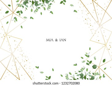 Herbal minimalistic horizontal vector frame.Hand painted plants, branches, leaves on white background.Greenery wedding invitation. Watercolor style.Gold line art.All elements are isolated and editable