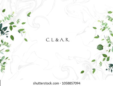 Herbal minimalistic vector frame. Green leaves on white marbled background. Greenery wedding invitation. Watercolor style. Natural horizontal card design. All elements are isolated and editable.