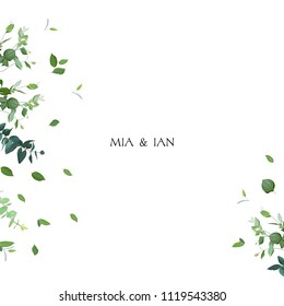 Herbal minimalistic vector frame. Hand painted plants, branches, leaves on white background. Greenery wedding invitation. Watercolor style. Natural card design. All elements are isolated and editable.