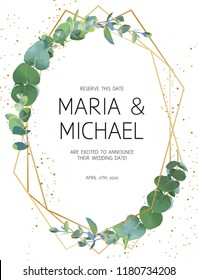 Herbal minimalistic vector frame. Hand painted plants, branches, leaves on white background. Greenery wedding invitation. Watercolor style. Gold line art. All elements are isolated and editable
